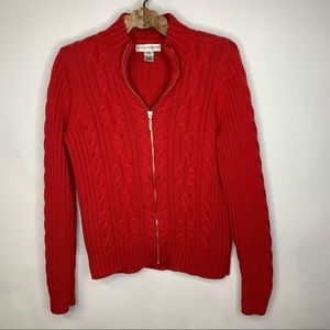 Evan Picone Red Cable Knit Cardigan Sz Small